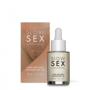 Мерцающее сухое масло-шиммер для тела и волос Slow Sex by Bijoux Indiscrets (Испания) купить