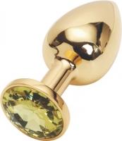 Золотистая анальная пробка с камнем под Сваровски