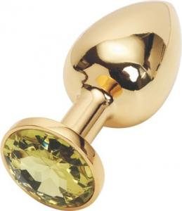 Золотистая анальная пробка с камнем под Сваровски купить